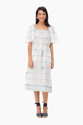 Tory Burch Embroidered Ruffle Dress