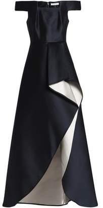 Halston Off-The-Shoulder Duchesse-Satin Gown