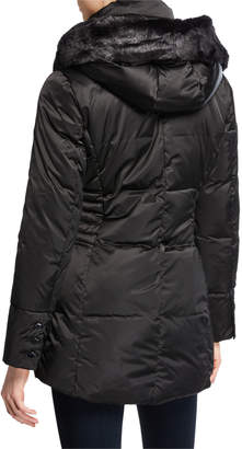 T Tahari Britney Hooded Puffer Vest with Faux Fur