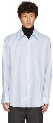 Raf Simons White and Blue Plastic Yoke Shirt