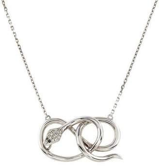 14K Diamond Snake Pendant Necklace