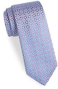 Charvet Men's Embroidered Flower Silk Tie - Purple