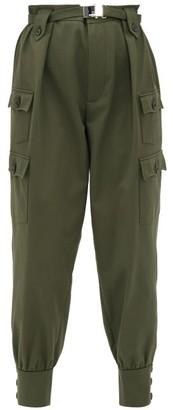 Miu Miu Belted Cotton Twill Cargo Trousers - Womens - Dark Green