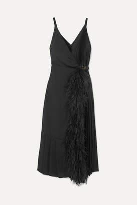 Prada Feather-trimmed Pleated Satin Wrap Dress - Black