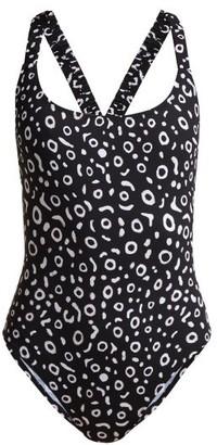Fisch - Oubli Round Neck Cross Back Swimsuit - Womens - Black White
