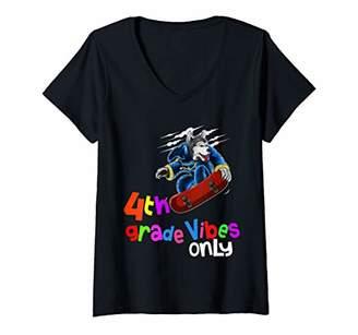 Womens Back to School Shirt 4th Grade Husky Dog Skateboard 1st Day V-Neck T-Shirt