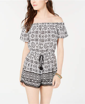 BeBop Juniors' Striped Off-The-Shoulder Romper
