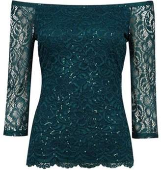 Dorothy Perkins Womens Green Sequin Embellished Lace Bardot Top