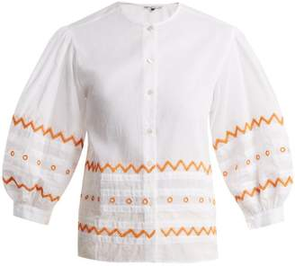 Jupe By Jackie Agrigan Embroidered Cotton Organdy Blouse - Womens - White