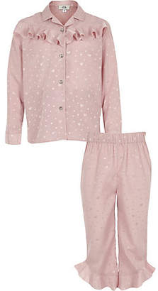 River Island Girls pink heart satin ruffle pajama set