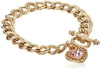 "1928 Jewelry ""Hearts"" 14k Gold-Dipped Toggle Charm Bracelet with Pink Swarovski Crystals $10.46 thestylecure.com"