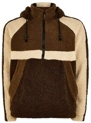 Topman Mens Brown Borg Overhead Jacket