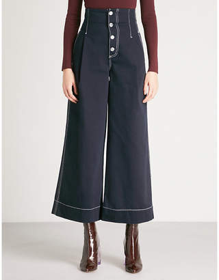 Mo&Co. Wide-leg cotton-twill trousers