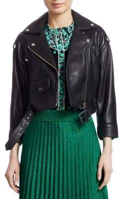 Maje Belted Leather Moto Bummer Jacket