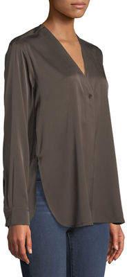 Vince Button-Down Long-Sleeve Silk Top