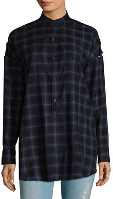 Helmut Lang Wool Checkered Shoulder Tab Shirt
