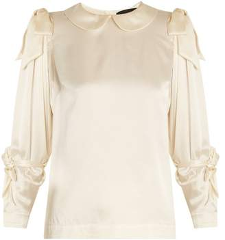 Simone Rocha Bow Tied Satin Blouse - Womens - Beige