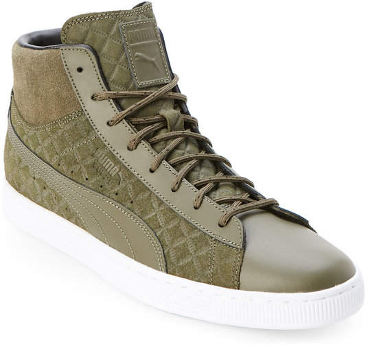 Olive Night Suede Classic Quilted Mid Sneakers