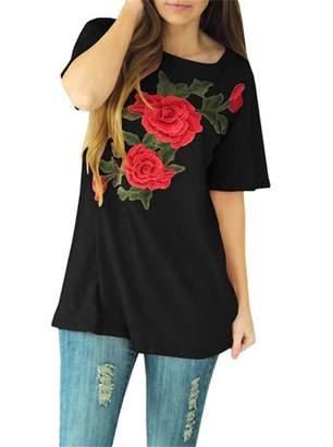 YONYWA Women Short Sleeve Tee Floral Print Casual Loose Tops
