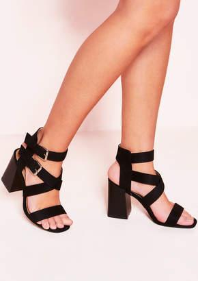 f51b070352e6 Missy Empire Missyempire Alana Black Strappy Buckle Heeled Sandals
