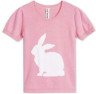 Kid Nation Girls' Pullover Easter Rabbit Short Sleeve Round Neck Sweater