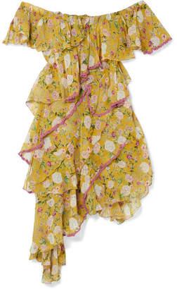 Anjuna - Nuccia Off-the-shoulder Ruffled Floral-print Silk-chiffon Dress - Chartreuse