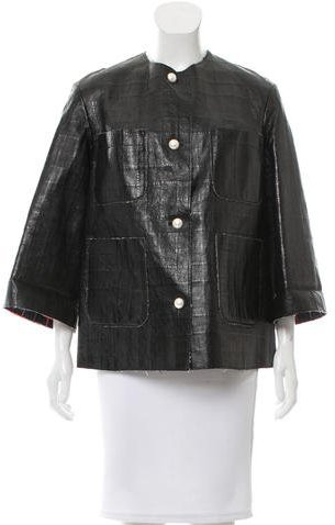 ChanelChanel Leather Button-Up Jacket