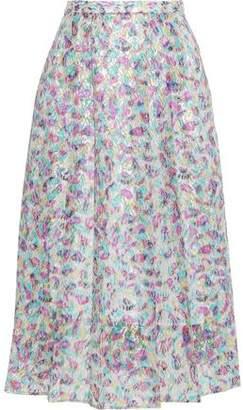 Christopher Kane Fairy Liquid Metallic Printed Lace Midi Skirt