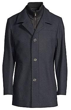 HUGO Men's Regular-Fit Barelto Wool-Blend Trench Coat