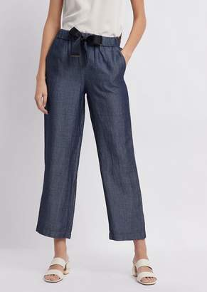 Emporio Armani Cropped Denim Pants With Bow At The Waist