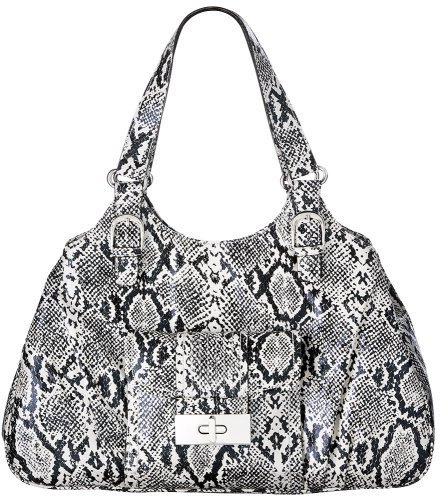 Mossimo Black: Snake Print Tote - Black and White