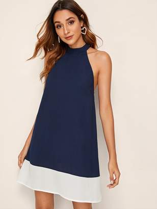 Shein Keyhole Back Colorblock Hem Halter Dress