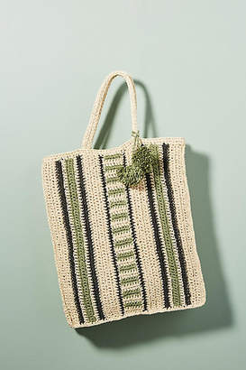 Monserat De Lucca Diego Striped Straw Tote Bag