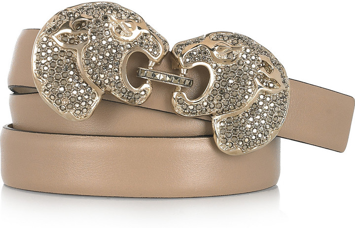 Valentino Pantera crystal-embellished leather belt