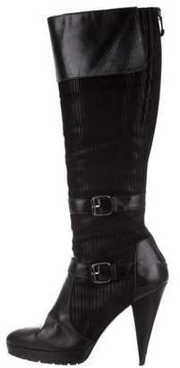 Oscar de la Renta Buckle Knee-High Boots