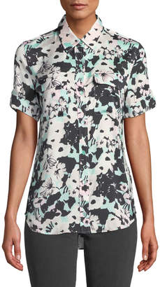 Equipment Backlight Floral Print Button-Down Blouse