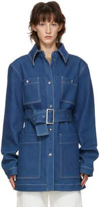 Acne Studios Blue Denim Belt Coat