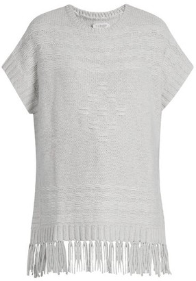 Velvet by Graham & Spencer Destinee Fringed Poncho - Womens - Light Grey