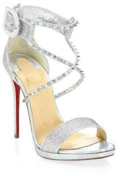 Christian Louboutin Lurex Metallic Studded Sandals