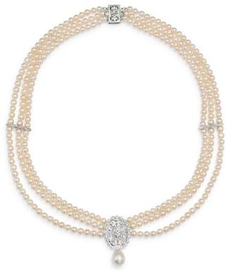 "Bloomingdale's Diamond & Cultured Freshwater Pearl Bib Necklace in 14K White Gold, 17"" - 100% Exclusive"