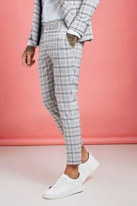 boohoo Pastel Check Detail Skinny Cropped Trousers