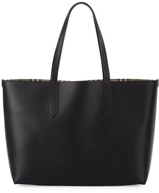Burberry Lavenby Medium Reversible Check & Leather Tote Bag, Black $995 thestylecure.com