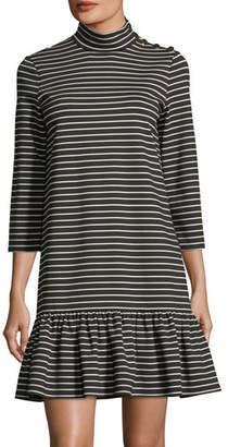 Kate Spade Mock-Neck Stripe Knit Mini Dress