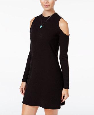 Planet Gold Juniors' Rib-Knit Cold-Shoulder Dress $39 thestylecure.com