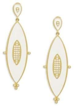 Freida Rothman Crystal & Enamel Marquise Drop Earrings