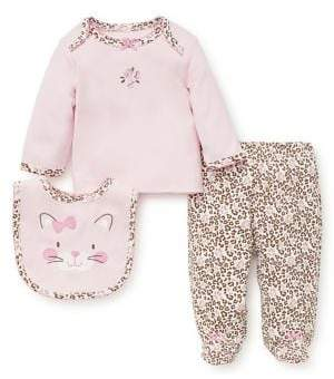 Little Me Baby Girl's Three-Piece Leopard-Print Cotton Top, Footed Pants and Bib Set