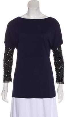 Gryphon Sequin Embellished T-Shirt Blue Sequin Embellished T-Shirt