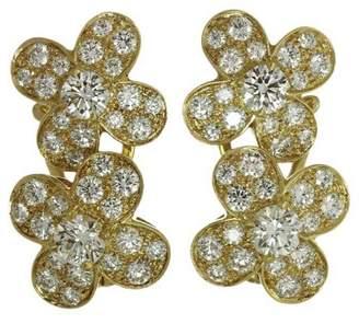 Van Cleef & Arpels Van Cleef & Arples 18K Yellow Gold Trefle Diamond Flower Earrings
