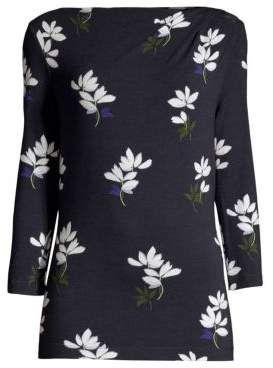 St. John Painted Flower Boatneck Top