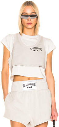 Alexander Wang (アレキサンダー ワン) - T By Alexander Wang T by Alexander Wang Bi Layer Crop Top in Heather Grey | FWRD